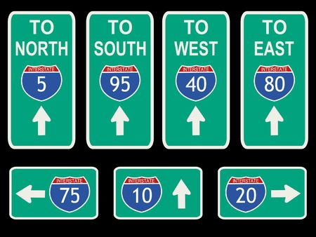 American Interstate signs with directions illustration Stock Photo