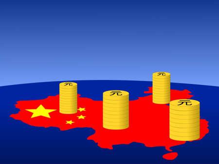 yuan: stacks of Yuan coins with map and flag of China