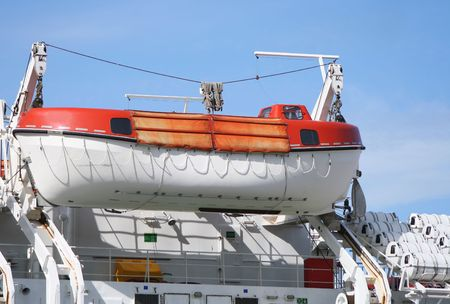 lifeboat secured to large ship Stock Photo - 942072
