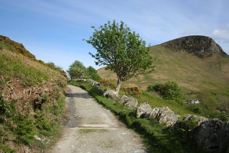 unpaved road: unpaved road in countryside Isle of Arran Scotland