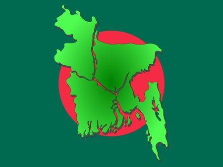 Map of Bangladesh and Bangladeshi flag illustration illustration