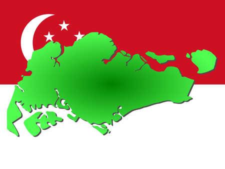 singaporean flag: map of Singapore and Singaporean flag illustration