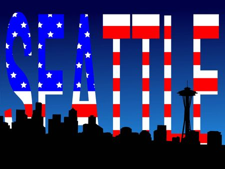 seattle skyline: Seattle skyline and American Flag stars and stripes illustration
