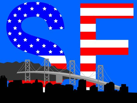 Oakland Bridge and San Francisco skyline with American flag Stock Photo - 942097