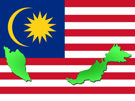 map of Malaysia and Malaysian flag illustration illustration