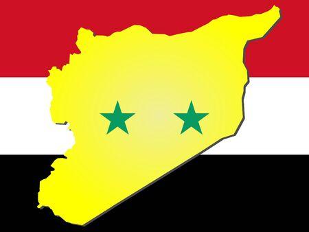 map of syria and syrian flag illustration illustration