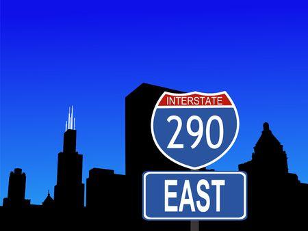 Chicago Skyline and interstate 290 sign illustration