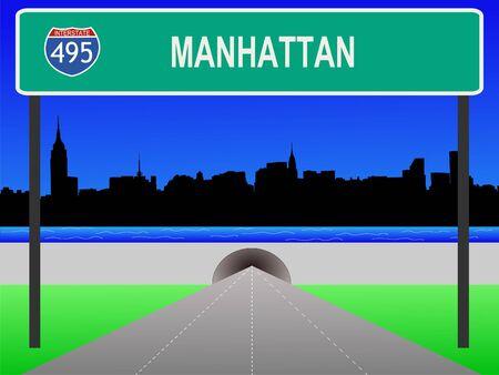 Midtown manhattan, tunnel and interstate 495 sign illustration illustration