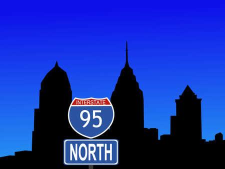 philadelphia: Philadelphia Skyline and interstate 95 sign illustration Stock Photo