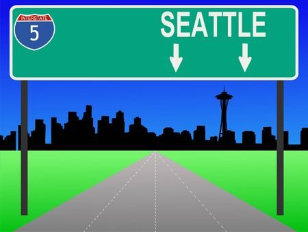 seattle skyline: Seattle skyline and interstate 5 sign illustration