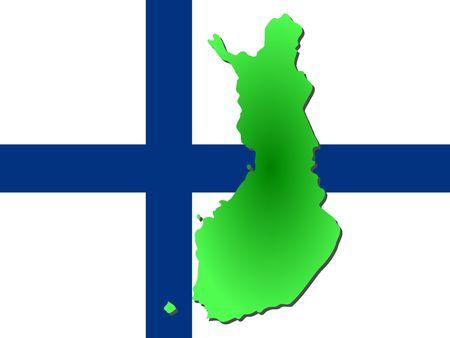 finnish: map of Finland and Finnish flag illustration
