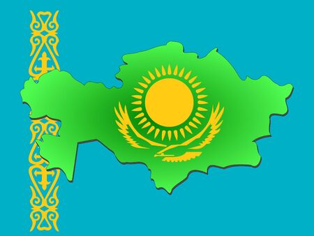 map of Kazakhstan and their flag illustration
