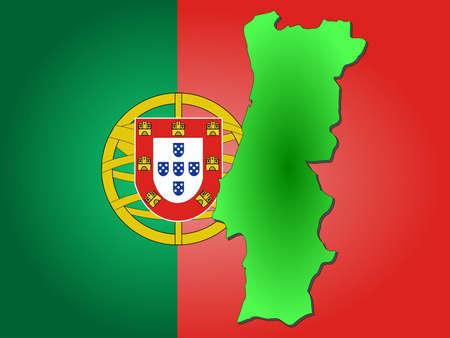 map of Portugal and Portuguese flag illustration Reklamní fotografie - 947221