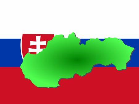 slovakian: map of Slovakia and Slovakian flag illustration