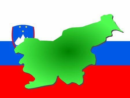 slovenian: map of slovenia and slovenian flag illustration Stock Photo