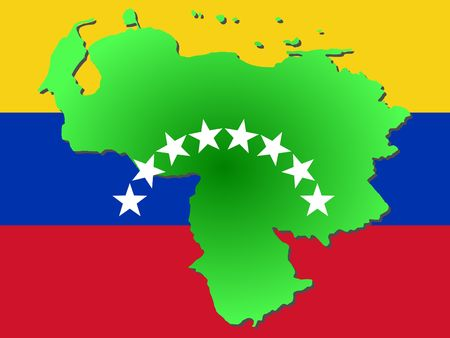 venezuelan: map of Venezuela and Venezuelan flag illustration Stock Photo