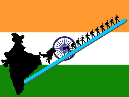 Workers pulling India upwards with Indian flag