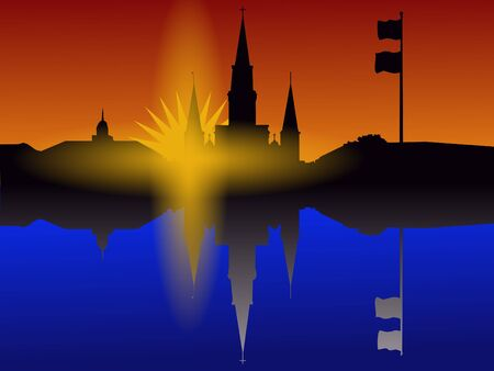 St Louis Cathedral Jackson Square New Orleans at sunset reflected in water photo