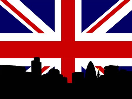 gherkin building: city of London Skyline and British Flag union jack
