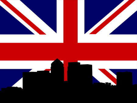 canary wharf: London Docklands Skyline and British Flag union jack