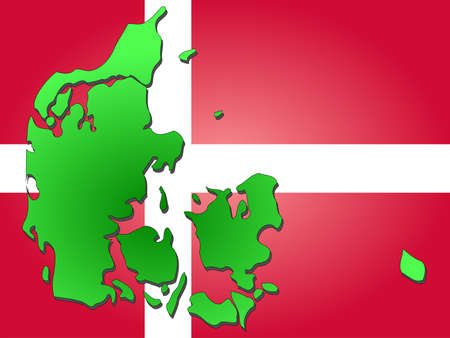 danish flag: map of Denmark and Danish flag illustration Stock Photo