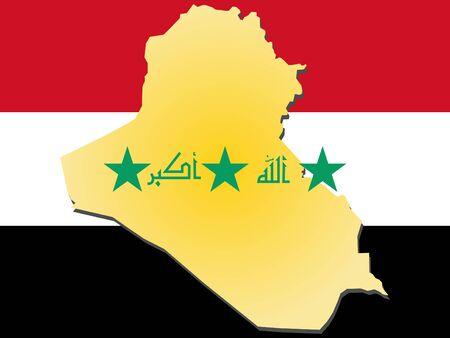 iraqi: map of Iraq and Iraqi flag illustration
