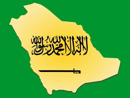 map of Saudi Arabia and Saudi Arabian flag illustration illustration