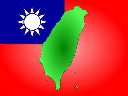 map of Taiwan and Taiwanese flag illustration illustration