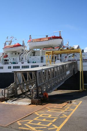 gangway: ferry with gangway for boarding at dock