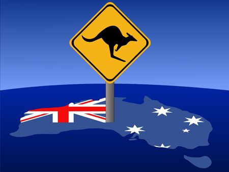 Kangaroo warning sign and Australian flag illustration illustration