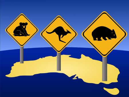 Australian warning signs and Australian map illustration Stock Illustration - 1050437