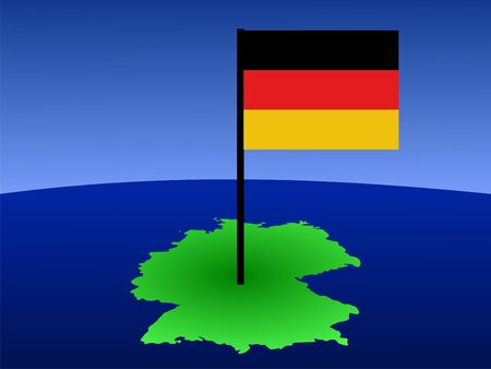 map of Germany and German flag illustration Stock Illustration - 1050439