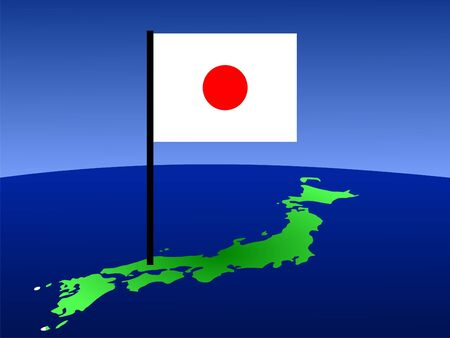 carte du Japon et du pavillon japonais illustration Banque d'images - 1050442