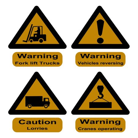 reversing: hazard signs at dock fork lift trucks, cranes and lorries