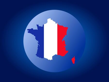 nation: map of France and French flag globe illustration Stock Photo