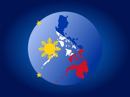 philippines  map: map of Philippines and Filipino flag globe illustration