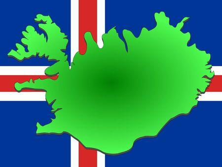 icelandic flag: mapa de Islandia y de Islandia pabell�n ilustraci�n Foto de archivo