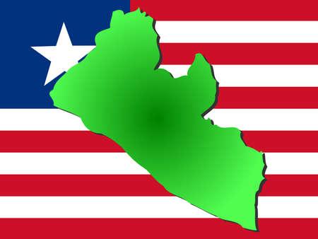 map of Liberia and Liberian flag illustration illustration