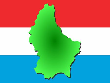 nation: map of Luxembourg and their flag illustration