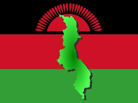 malawian flag: map of Malawi and Malawian flag illustration