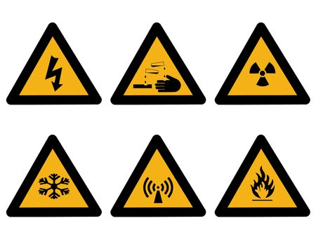 corrosive: Industrial hazard symbols extreme cold, flammable, radioactive electrical, corrosive Stock Photo