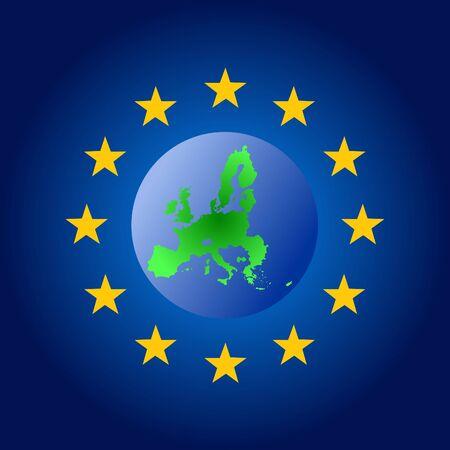 map of European union globe illustration Stock Illustration - 1078864