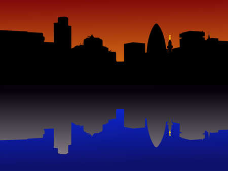 gherkin building: city of London Skyline reflected at sunset