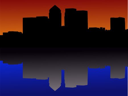 canary wharf: London Docklands Skyline reflected at sunset Stock Photo