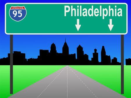 philadelphia: Philadelphia Pennsylvania skyline and interstate 95