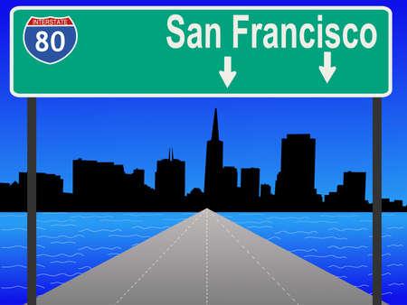 interstate: San Francisco skyline and interstate 80 illustration