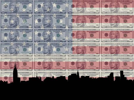 trump: Midtown manhattan skyline with 10 dollar bill and American flag
