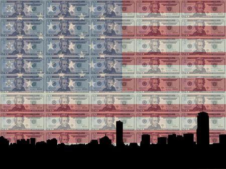 greenbacks: Boston skyline with 20 dollar bill and American flag