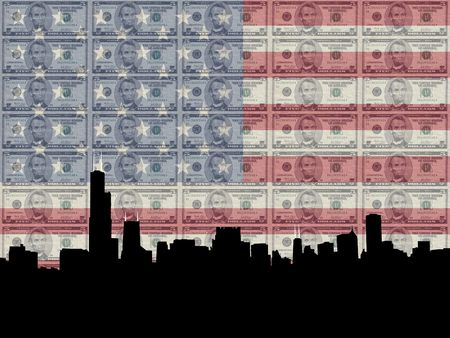 greenbacks: Chicago skyline with 5 dollar bill and American flag Stock Photo