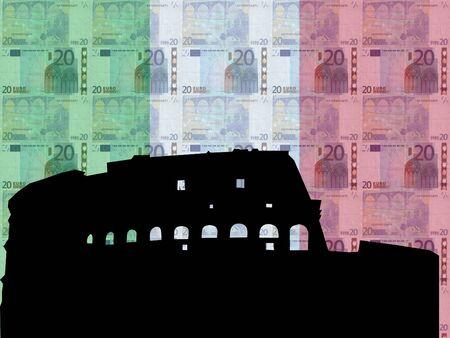 colloseum: Colloseum Rome with  20 euro and italian flag